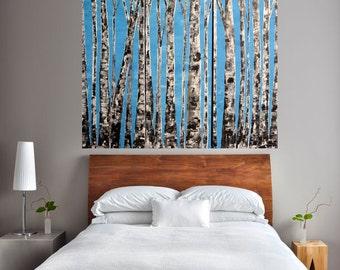READY TO SHIP: 36x36 Multi Panel Woodland Winter Solstice Blue Skies-Aspens Birch Bare Tree Scene Original Art Work MyImaginationIsYours