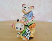 Vintage 1950s Stacking Bear Salt and Pepper Shakers Playing Leapfrog Made in Japan