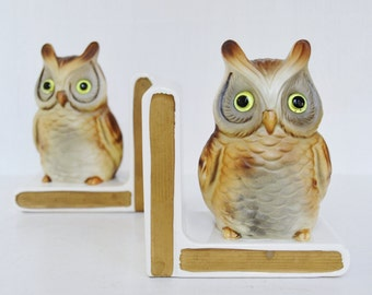 Vintage Owl Bookends with Glass Eyes by Lefton