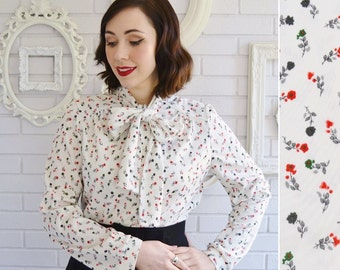Vintage Long Sleeve and Bow Tie Blouse with Floral Print Size Small or Medium
