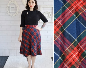 Vintage Skirt Red and Blue Plaid with Accordion Pleating Size XS