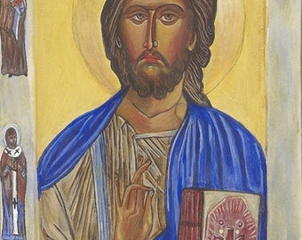 Signed Print, Byzantine Icon, Print of Jesus Christ, the Pantocrator, Coptic,Licia Atelier, hand made, USA