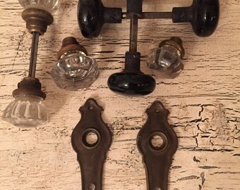 Vintage Glass and Ceramic Door Knobs and Hardware - Mixed Lot - Glass, Porcelain