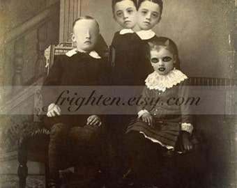 Creepy Halloween Decor, Oddities 8x10 inch Collage Art Print of Weird Two Headed Freaks Family