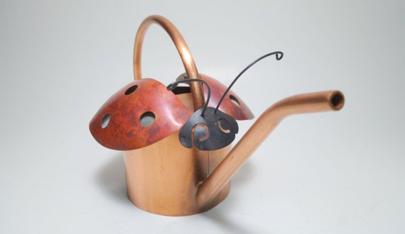 Vintage solid copper ladybug watering can copper ladybug - Ladybug watering can ...