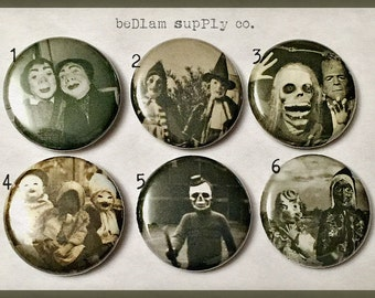 "Vintage Halloween Creepies - 1"" Button Choose Your Own"
