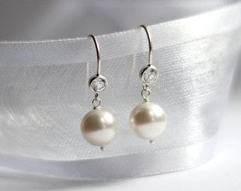 Bridal Pearl Earrings, Pearl Jewelry, CZ Earrings, Wedding Earrings, Crystal Earrings, Sterling Silver Earrings, Wedding Jewelry
