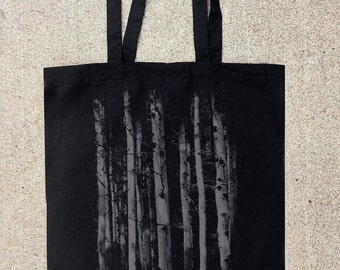 Tote Bag - Grunge Forest Illustration - Screen Printed Tote - Cotton Canvas Tote Bag
