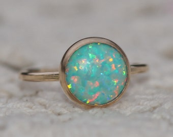 RARE Mint Seafoam Opal Ring,Gold Filled Bezel Setting Ring,Lab Created Opal Gemstone,Mint,Genuine Opal Ring,Opal Jewelry,October Birthstone