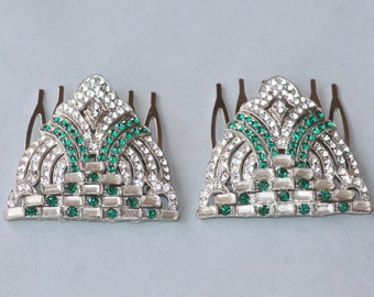 GENUINE 1920s Emerald Green Paste Rhinestone Hair Comb,Single or PAIR,Paved Rhinestone,Upcycled Reclaimed Vintage Jewels,Green Bridal Combs
