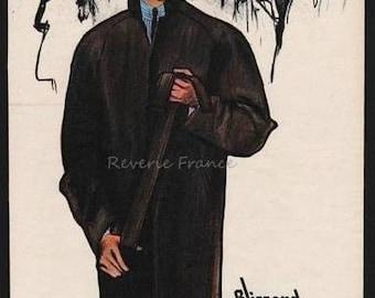 Original Vintage French Ad Blizzand Fashion for Men 1962  Rene Gruau