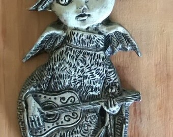 Vintage Kitschy Angel with Guitar Plaque