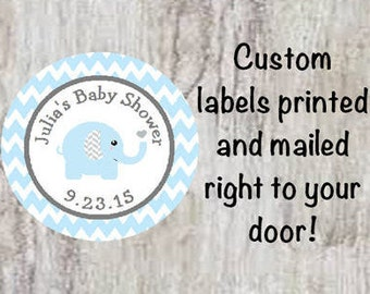 PRINTED Baby Shower Blue Grey Elephant Round Stickers - Baby Boy Blue & Gray Chevron Labels for Party Favors **Discounts Available