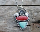 Red Coral and Turquoise Bloom Sterling Silver Necklace. BLOOM mini collection. Flower silversmith metalwork pendant.  One of a kind. OOAK