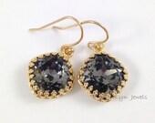 Silver Night Earrings - Dark Grey Swarovski Crystal Cushion Cut Gold Bezel Earrings