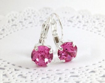 Swarovski Rose Pink Earrings - Nickel Free Silver Plated Leverback 8mm Pink Earrings - Christmas Gift, Bridesmaids Earrings
