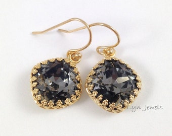 Silver Night Earrings - Dark Grey Swarovski Crystal Cushion Cut Gold Bezel Earrings