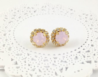 Light Pink Opal Earrings Swarovski Crystal Rose Water Opal Clear Rhinestone Gold Stud Earrings Wedding Prom Earrings