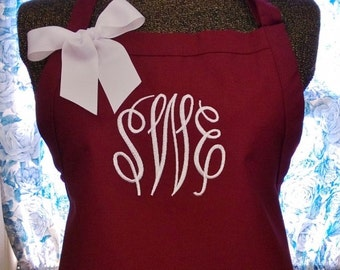 Monogrammed Apron Personalized with Initial Name or Bride