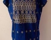 "Mexican handwoven huipil tunic indigo blue tan floral patterns Oaxaca Amuzgo boho resort Frida Kahlo 23 1/2"" wide x 31"" long"