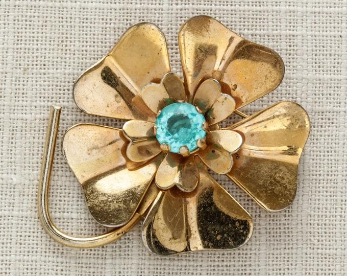 Gold & Aqua Blue Brooch | Vintage Metal Rhinestone Pin | 1950s 60s Mod Flower Broach Floral Shiny Metallic | Brooch Bouquet Pin 15E SALE