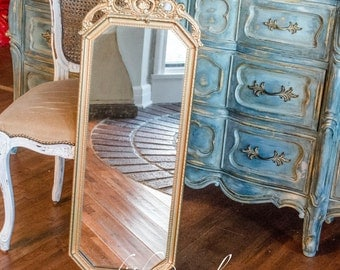 Antique Mirror in Gold Gesso Wood Frame