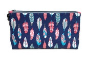 Small Blue, Turquoise, Pink & White Feathers Zipper Storage Pouch S196