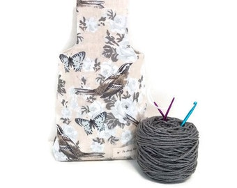 Medium Natural Birds, Butterflies and Flowers Yarn Shopping Bag Project Tote S176