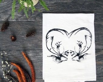 Caribou Heart - Hand Screen Printed Cotton Kitchen Towel