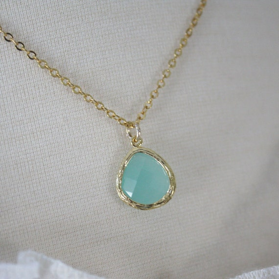 Gold Necklace, Mint Necklace, Bridesmaid Necklace, Mint Wedding, Dainty Gold Necklace, Gifts for Her, Best Friend Gifts, Gifts for Mom