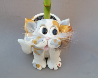 Muted calico pencil holder, sculpture, Clay kitty, hand made, hand sculpted, unique cat, by Pencepets, Pence animal sculptures