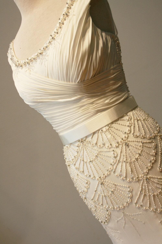 deco wedding dress beaded vintage style