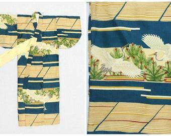 Vintage Japanese Kimono. Child's Children's Boy's Silk Kimono Robe. Turquoise Yellow Crane Design (Ref: 1147)