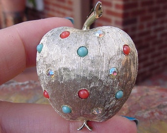 Vintage Brooch with Rhinestones on Textured Silver Tone Apple Brooch