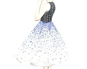 "Couture Fashion Illustration Print // Elegant, Glamorous 1950's Style // In A4 (8.3 X 11.7"")"