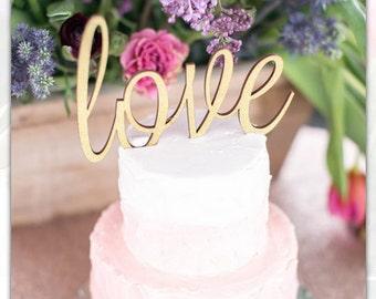 Love Cake Topper Rustic Elegance Glitter Cake Topper Wood Cake Topper