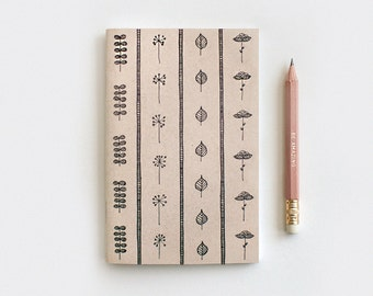 Autumn Gifts, Gardening Gift Brown Recycled Journal & Pencil Set, Illustrated Leaves and Flowers - Stocking Stuffer Floral Journal