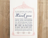 Navy & Blush Wedding Reception Thank You Note for Table includes Customizable Wording, Paper, Ink Colors, Font Styles - 5x7 in size