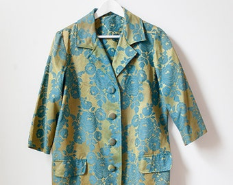 80s Brocade Gold and Turquoise Button Down Jacket