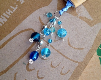 Blue Beaded Bookmark Glass Beaded Book Thong Teacher Gift Book Club