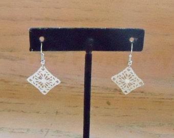 Earrings Silvertone Filigree Diamond Shape Handmade Jewelry Jewellery Gift for Her