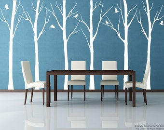 Set of Six Winter Cool Tree (102inch H)- Tree Vinyl Wall  Decals Stickers Home Decor by Pop Decors