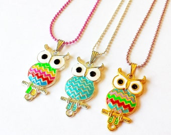 Colorful Pretty Owls enamel charm pendant necklace