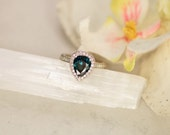RESERVED Final Payment for Blue Green Sapphire Pear Shape Art Deco Diamond Halo Engagement Ring