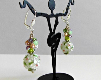 Floral Lampwork Glass Earrings  Svarowski  Crystals Cluster Cascade Dangle Earrings