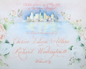 Marriage Certificate and Sign In Scroll.  Guest Book Alternative