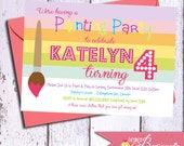 Painting Party Birthday Invitation - Printable Party Invite - Girls 4th, 5th, 6th Birthdays - Rainbow - Paint party