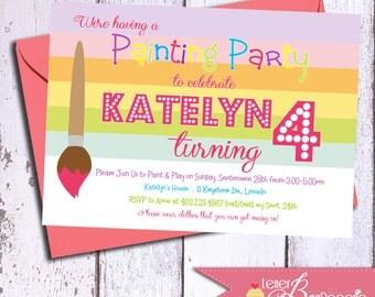 Painting Theme Birthday Invitation - Printable Party Invite - Girls 4th, 5th, 6th Birthdays - Rainbow - Paint party