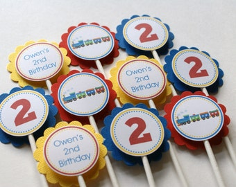 Choo Choo Train Cupcake Toppers, Train Cupcake Picks, Train Birthday Party, Train Party Decorations, Train Toppers (Blue, Yellow & Red)