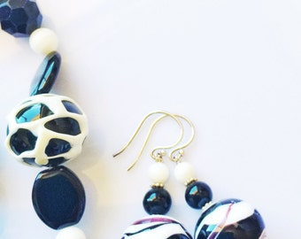 Stunning Classic Black White Venetian Murano Agate Gemstone .925 Sterling Silver Drop Earrings